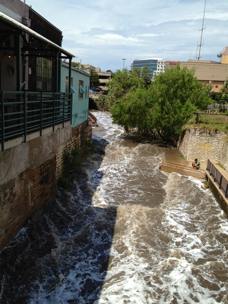 Waller Creek Raging through Downtown after a long downpour