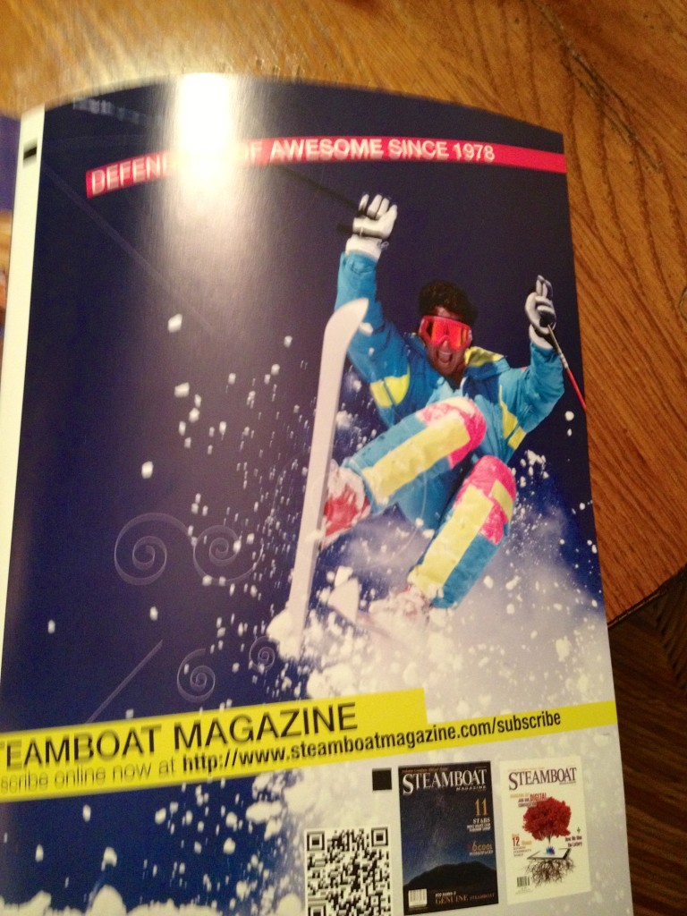 Johnny Greco on the inside cover of Steamboat Magazine