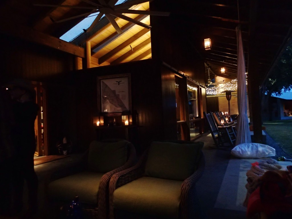 Chilling on the deck of the lodge