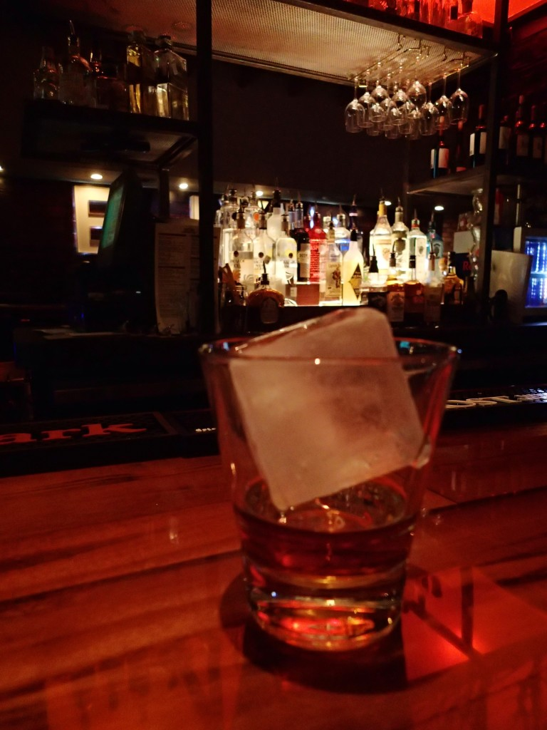 A fine whiskey with a big chunk of Ice..at Ten Oak