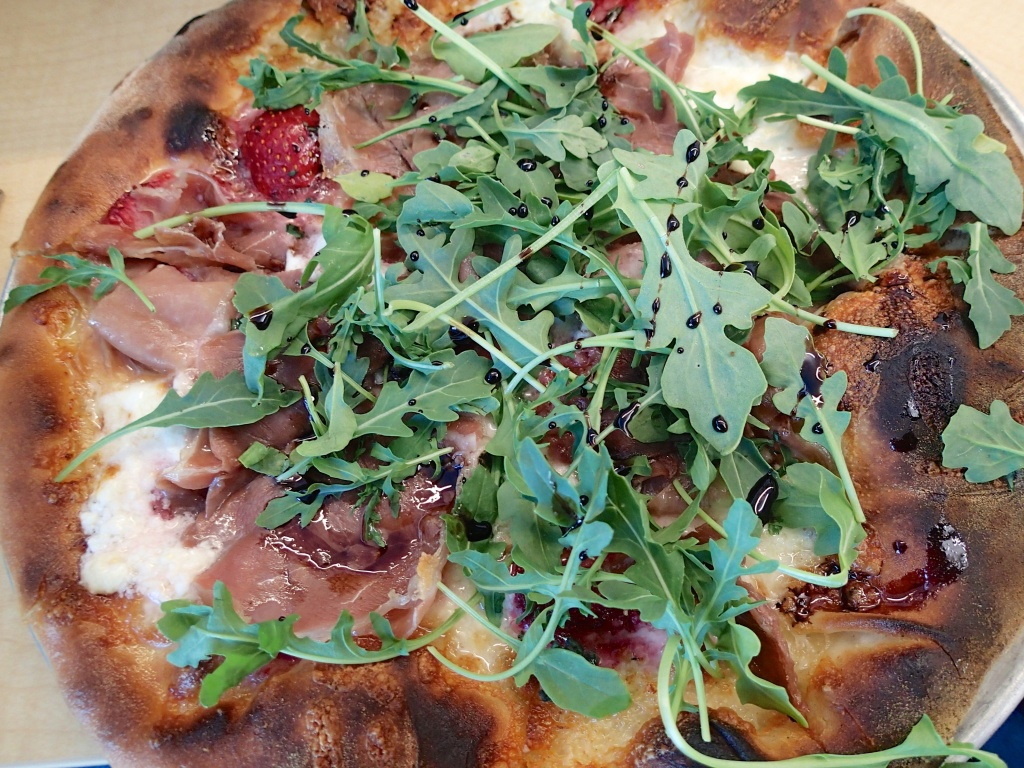 Pizza with strawberries and proscuitto ramps and balsamic..at work