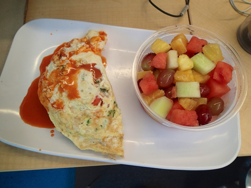 Egg White Omelette with Spinach and tomato Plus fruit  at work