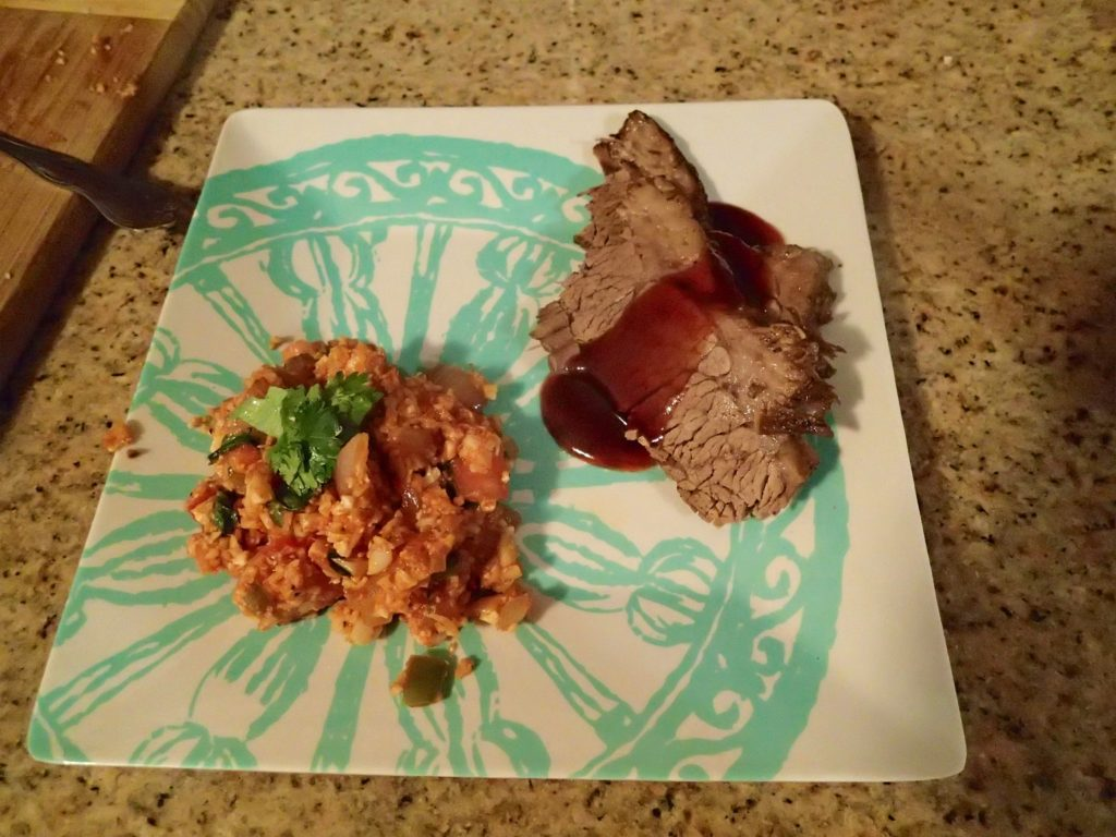 Homemade Beef Brisket and Cauliflower rice Spanish style
