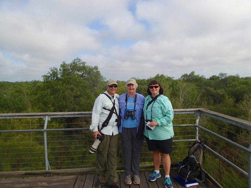 The Scott Free Family birders on the Hawk Tower in Bentsen Rio Grande St. Park